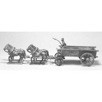 Wagon with solid sides pulled by horses, 1800-1880.