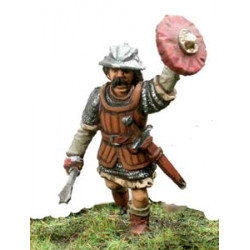 Scottish infantryman with mace and shield, attacking.