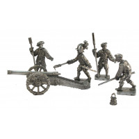 Artillery crew and 4 lb Falconetto cannon.