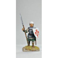 Infantryman standing, with chain mail.