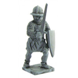 Infantryman with kettle-hat, sword, and shield 1250-1300