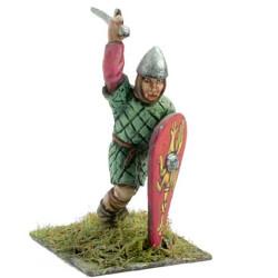 Nornan os Saxon warrior, armour of scales, falchion, shield