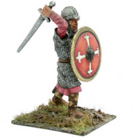 Norman warrior with coat of mail, sword and shield, attacking.