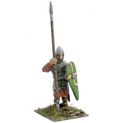Norman warrior with coat of mail, spear and shield, standing.
