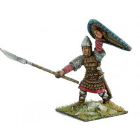 Norman warrior with armor of scales, shield and sword.