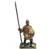 Norman warrior with padded coad, spear and shield, standing.