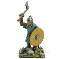Saxon or Norman warrior with shield and spear, running.