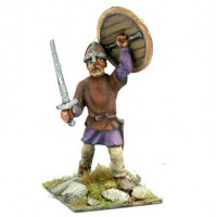 Saxon or Norman warrior with shield and sword.