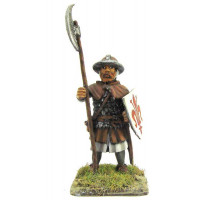 Infantryman standing, with plate mail, iron cap.