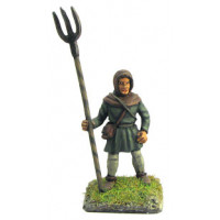 Farmer with hood an pitch fork, standing