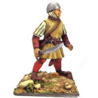 Infantryman, pavise, skull cap