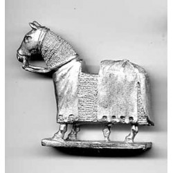 Horse covered with mail coat and cover.