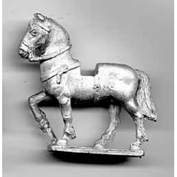 Heavy horse for medieval knight, uncovered, walking'