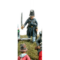Officer of the fuciliers in campaign dress, in attack march.